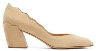 Chloé Laurena 60 Suede Block Heel Pumps - Womens - Nude