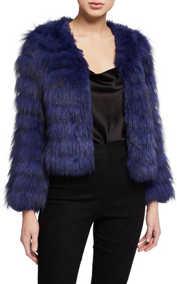 Alice + Olivia Fawn Cropped Fur Jacket