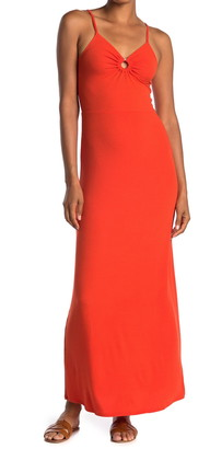 Love, Fire Ribbed Keyhole Cutout Maxi Dress