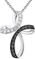 1/4 Carat T.W. Black & White Diamond Sterling Silver Ribbon Cross Pendant Necklace