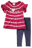 Flapdoodles Little Girls 2T-6X Sequin Tie-Dye Dress & Denim Leggings Set