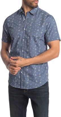 Report Collection Nautical Print Short Sleeve Slim Fit Sport Shirt