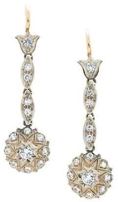 Stephanie Windsor Vintage Platinum & Diamond Cluster Edwardian Drop Earrings
