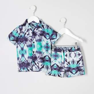 River Island Mini boys Purple tie dye shirt outfit