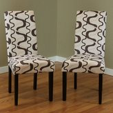 Monsoon Villa Printed Fabric Contemporary Dining Chairs (Set of 2)