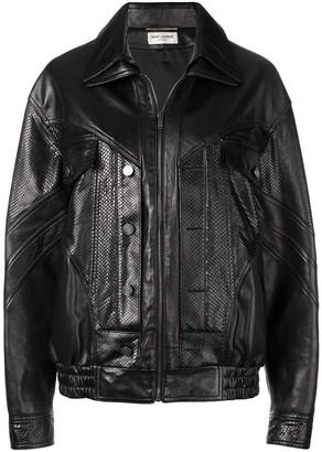 Saint Laurent zipped biker jacket