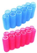 """24pc x 3/4"""" Diameter Self Grip Velcro Hair Rollers Pro Salon Hairdressing Curlers Small"""