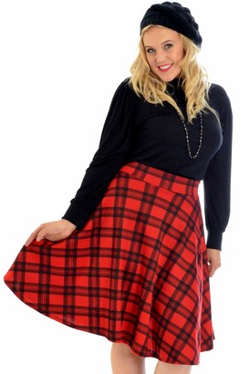 Nouvelle Collection Ladies Tartan Skater Skirt Scottish Check Midi Skirt Nouvelle Womens Plus Size Charcoal