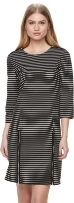 Nina Leonard Women's Striped Zippered-Trim Shift Dress