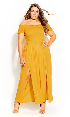 City Chic Summer Passion Maxi Dress - sunshine