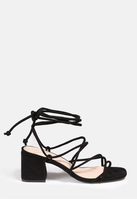 Missguided Black Faux Suede Lace Up Block Heel Sandals