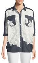 Badgley Mischka Lace Combo Half-Sleeve Card Top
