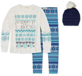 Self Esteem Long Sleeve Fair Isle Legging Set with Beanie - Girls' 4-16 & Plus