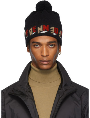 Fendi Black Wool 3D Pom Pom Beanie