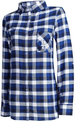 Women's Concepts Sport Royal/Black Los Angeles Dodgers Plus Size Piedmont Flannel Nightshirt
