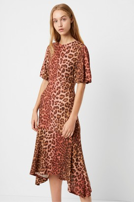 French Connection Annla Leopard Print Hanky Hem Midi Dress