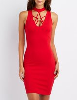 Charlotte Russe Mock Neck Caged O-Ring Bodycon Dress