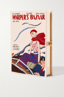 Olympia Le-Tan Harper's Bazaar Embroidered Appliqued Canvas Clutch - Neutrals