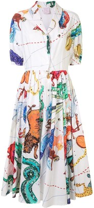 Stella Jean Printed Midi Shirt Dress