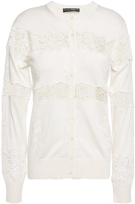 Dolce & Gabbana Guipure Lace And Crochet-paneled Embroidered Silk-blend Cardigan