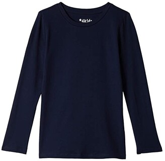 #4kids Essential Long Sleeve T-Shirt (Little Kids/Big Kids) (White) Girl's Clothing