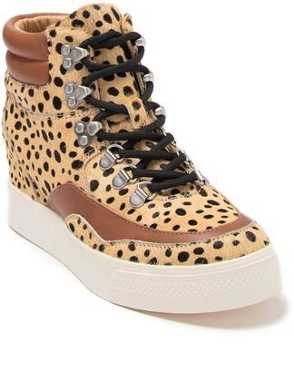 Dolce Vita Weber Snakeskin Print Trimmed Leather Hidden Wedge Sneaker