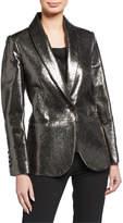 Brunello Cucinelli Broken Glass One-Button Metallic Leather Blazer