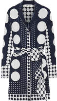 Diane von Furstenberg Printed Silk Crepe De Chine Mini Dress - Navy