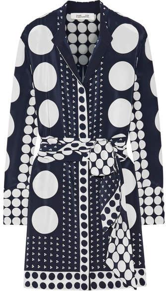 Diane von Furstenberg Printed Silk Crepe De Chine Mini Dress - Navy
