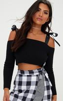 PrettyLittleThing Black Ribbon Tie Detail Knitted Crop