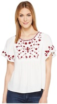 Lucky Brand Hannah Embroidered Top Women's Short Sleeve Pullover