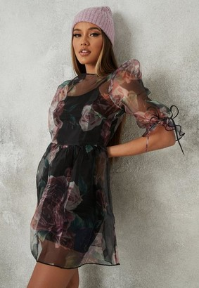 Missguided Black Floral Organza Puff Sleeve Skater Dress