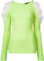 David Koma cut-out ruffle jumper - women - Nylon/Spandex/Elastane/Rayon - S