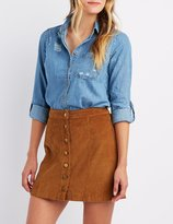 Charlotte Russe Distressed Chambray Button-Up Shirt