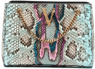Versace Virtus snakeskin-effect tote bag