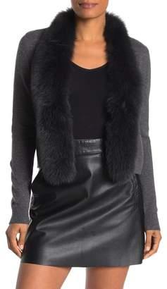 Sofia Cashmere Genuine Dyed Fox Fur Trim Cashmere Cardigan