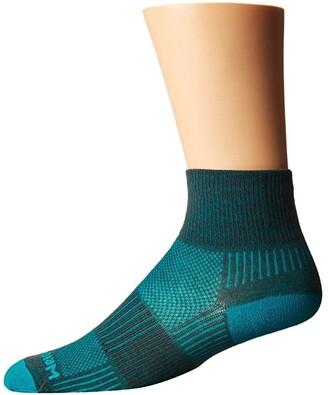Wrightsock Coolmesh II Quarter (Ash/Turquoise) Quarter Length Socks Shoes