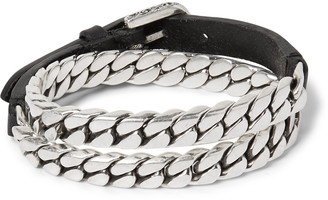 Gucci Leather And Burnished Sterling Silver Wrap Bracelet