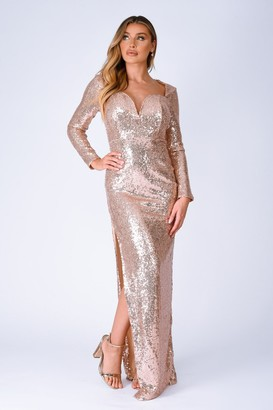 Nazz Collection Hollywood Vip Rose Gold Sequin Plunge Slit Maxi Dress