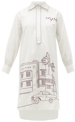 Kilometre Paris - Miami Embroidered Cotton Pyjama Top - Womens - White Multi