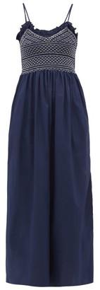 Loretta Caponi - Bianca Shirred-bodice Embroidered Cotton Dress - Navy White