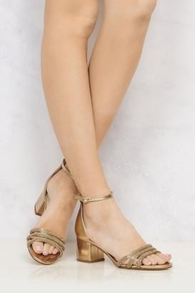 Miss Diva Walk It Off Block Heel 3 Dia Straps Sandal in Rose Gold