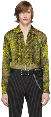 Dries Van Noten Green and Yellow Floral Ruffle Shirt