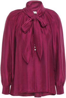 Masscob Martine Pussy-bow Gathered Silk-shantung Blouse