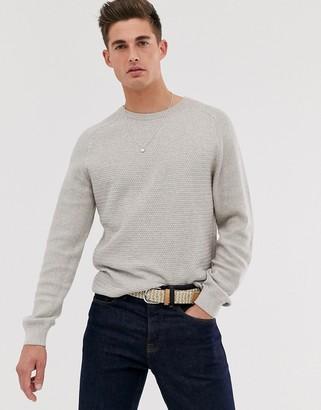 Jack and Jones cotton crew neck textured jumper in grey-Green