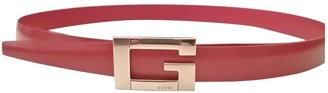 Gucci Interlocking Buckle Red Leather Belts