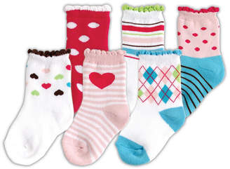 Luvable Friends Socks, 6-Pack, Pink, 0-12 months