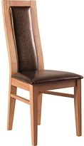 Living Collection Warwick Pair of Oak Effect Dining Chairs - Choc