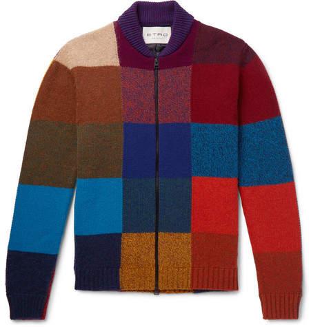 Etro Patchwork Wool-Blend Zip-Up Cardigan