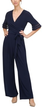 Jessica Howard Belted Illusion-Trim Jumpsuit